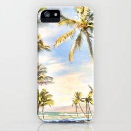 Vintage Hawaiian Beach, Mauna Lani Bay, Blue iPhone Case