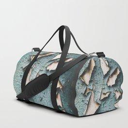 Rustic old light blue green peeling paint Duffle Bag