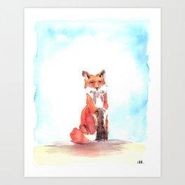 red fox in watercolor Art Print