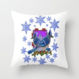 BLUE JAYS IN WINTER SNOWFLAKES HOLIDAY ART Throw Pillow