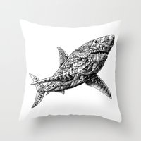 bioworkz Throw Pillows featuring Great White by BIOWORKZ