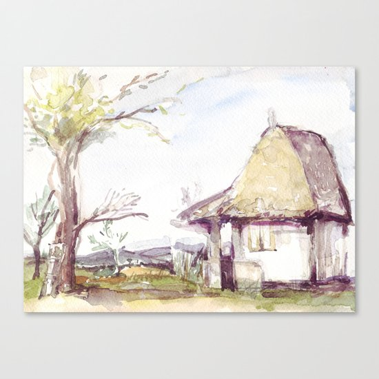 Romanian watercolor Canvas Print