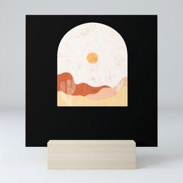 Cactus mountain Desert landscape Nature sunset Mini Art Print