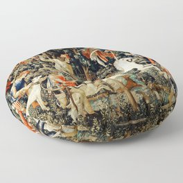 Slaying Of The Unicorn Medieval Tapestry Floor Pillow