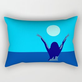 Blue sky and moon is calling me.. Rectangular Pillow