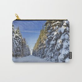 Trail through beautiful winter forest on a clear day Carry-All Pouch