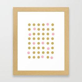 Pink+Gold Dots Framed Art Print