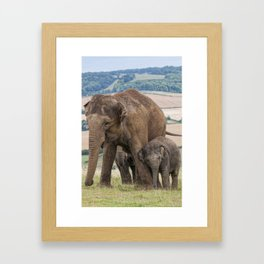 Lean on Me Little Elephant Framed Art Print