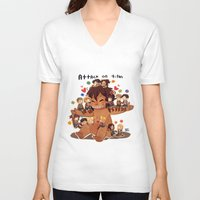 snk V-neck T-shirts featuring SNK-Mini Titan by Mimiblargh