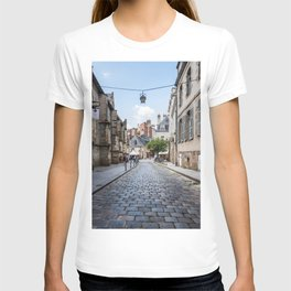 Cobblestoned street in historic centre of Rennes, France T-shirt