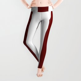 Blood red - solid color - white vertical lines pattern Leggings