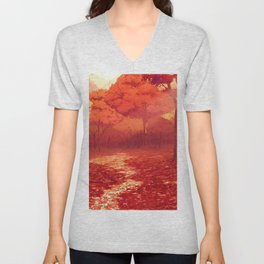 Lovely Forest Clearing At Gorgeous Dusk Cartoon Scenery Ultra High Resolution Unisex V-Neck