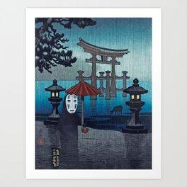 No face Kaonashi vintage japanese mashup Art Print