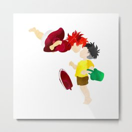 Ponyo and Sosuke white background Metal Print