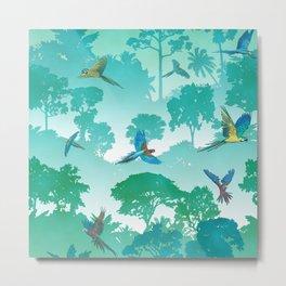 Macaw Canopy // Cyan Metal Print