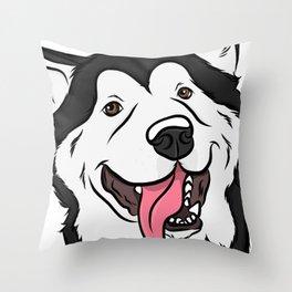 Happy Malamute Throw Pillow