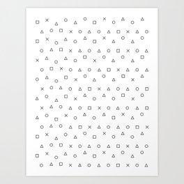 gaming pattern - gamer design - playstation controller symbols Kunstdrucke