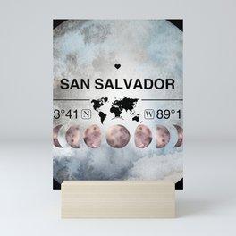 San Salvador, El Salvador, Watercolor Design with Latitude & Longitude Map Coordinates Mini Art Print