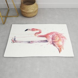 Flamingo Watercolor Painting Pink Tropical Birds Facing Left Rug