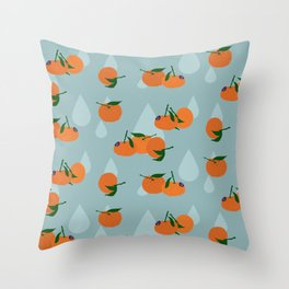 Clementines and drops Throw Pillow