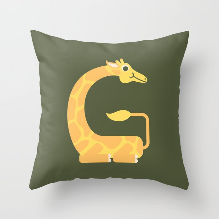 Letter G // Animal Alphabet // Giraffe Monogram Throw Pillow