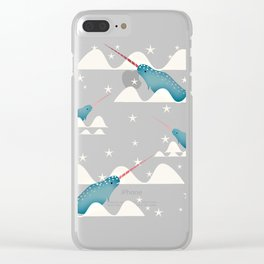 Sea unicorn - Narwhal green Clear iPhone Case