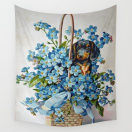 Dachshund and Forget-Me-Nots Wall Tapestry