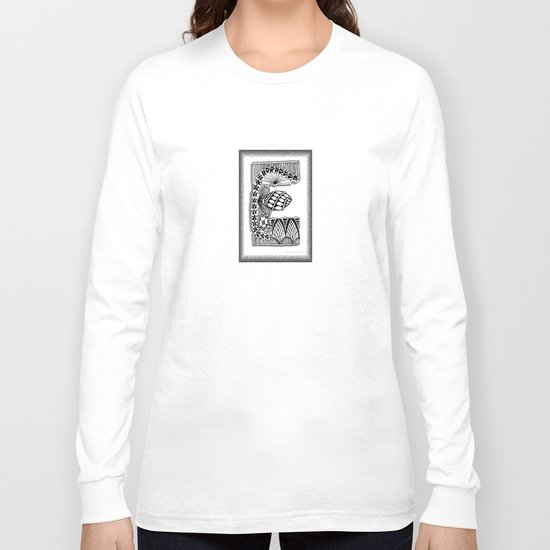 Zentangle E Monogram Alphabet Illustration Long Sleeve T-shirt