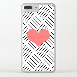 Red heart - Abstract geometric pattern - black and white. Clear iPhone Case