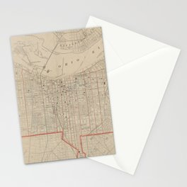 Vintage Map of Louisville KY (1880) Stationery Cards