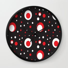Red White Black Retro Circle Pattern Wall Clock