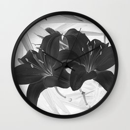 Contemporary Black Lily Flower Floral Art A116 Wall Clock