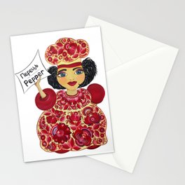 Little chef (red) in petrykivka style Stationery Cards
