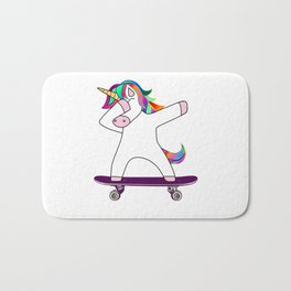 Dabbing Unicorn Skateboard Skating Skater Rainbow Skateboarding Bath Mat