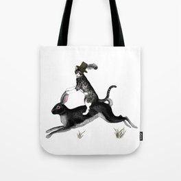 Cat And Rabbit Going For A Ride Tote Bag