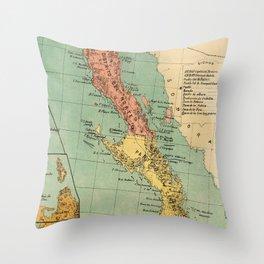 Vintage Map of Baja California (1899) Throw Pillow