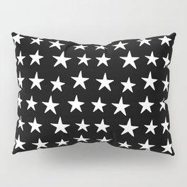 Star Pattern White On Black Pillow Sham