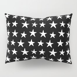 Star Pattern White On Black Pillow Sham