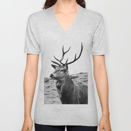 The Stag on the hill - b/w Unisex V-Neck
