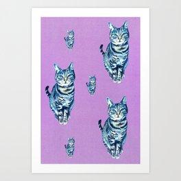 Tabby cat pattern on lilac Art Print