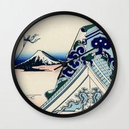 "Hokusai (1760-1849) ""Asakusa Hongan-ji temple in the Eastern capital [Edo]"" Wall Clock"