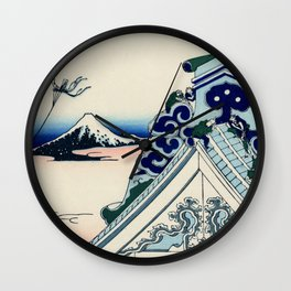 "Hokusai (1760-1849) ""Asakusa Hongan-ji temple in the Eastern capital [Edo]"" Wall Clock"