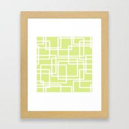 Retro Modern White Rectangles On Pale Grape Framed Art Print