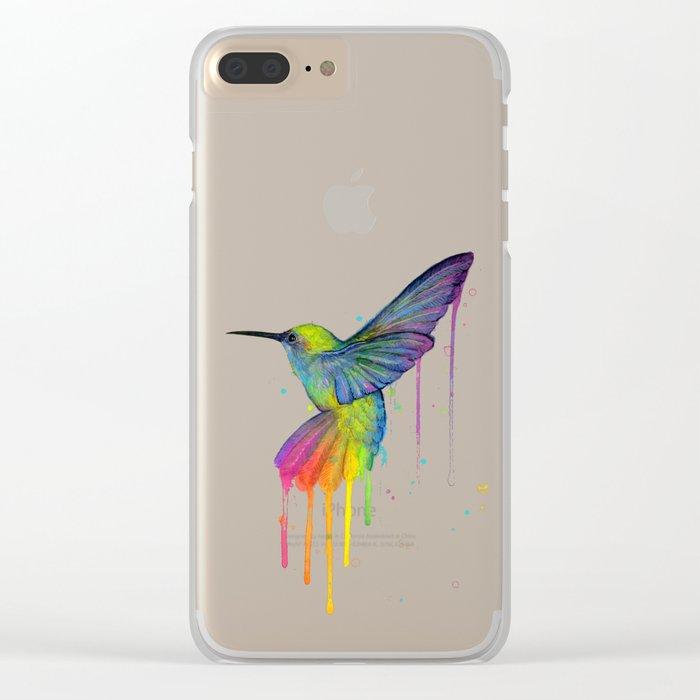 Hummingbird Rainbow Watercolor Clear iPhone Case