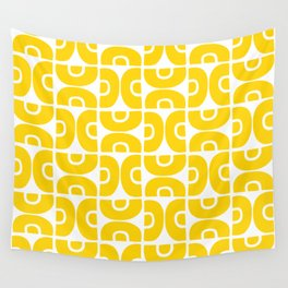 Groovy Mid Century Modern Pattern Yellow Wall Tapestry