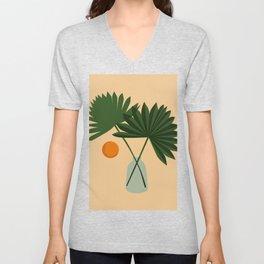 Fresh Cut Fan Palms, Palm Frond In Vase, Minimalist Modern Abstract Art Art, Home Decor Unisex V-Neck