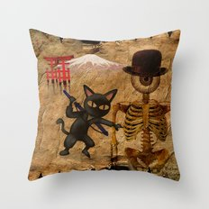The cat and Monsieur Bone in Japan Throw Pillow