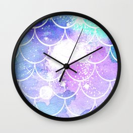 Galaxy Mermaid Scales Wall Clock