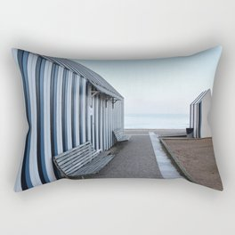 Blue striped changingrooms in winter at the beach --Soft pastels in Normany France -- Rectangular Pillow