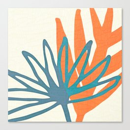 Mid Century Nature Print / Teal and Orange Canvas Print